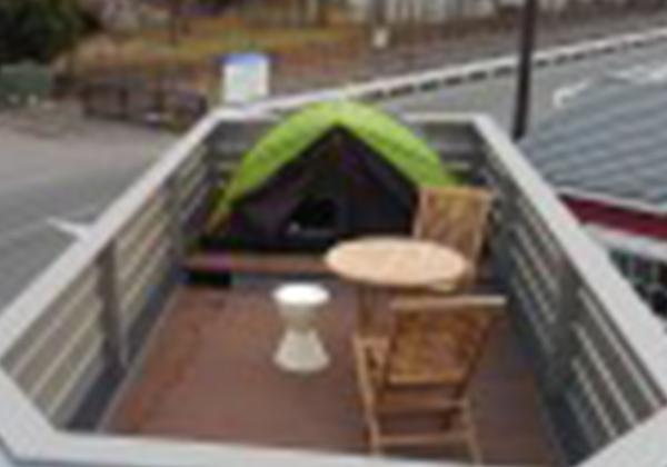 テント1.2m×2m (1~2人用)木製手すり柵 (アルミ柵オプション)