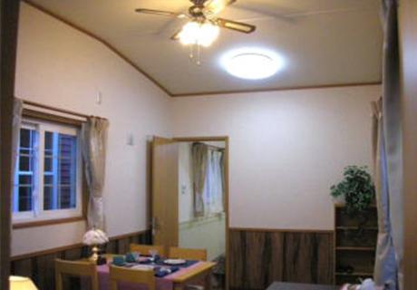 ライト付シーリングファン&LEDによる省エネ及び明るさを確保