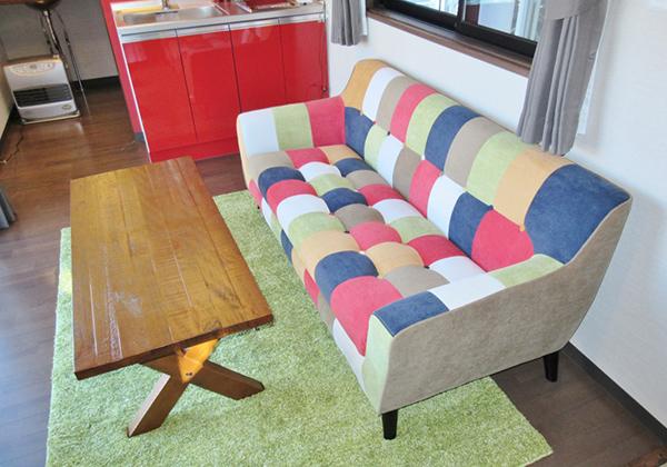 【家具セット】2人掛けソファー・無骨テーブル